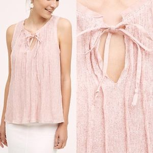 Anthropologie Meadow Rue Pink Pleated Top